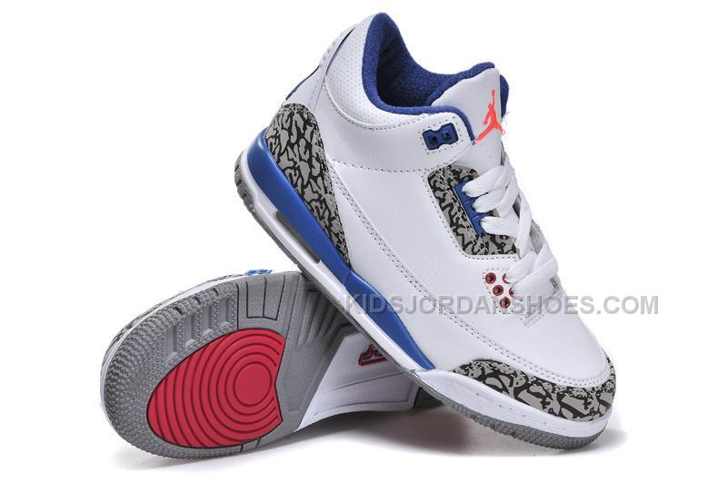 cheap for discount 6ad3f 2ca25 Nike Air Jordan 3 Kids White Blue Red