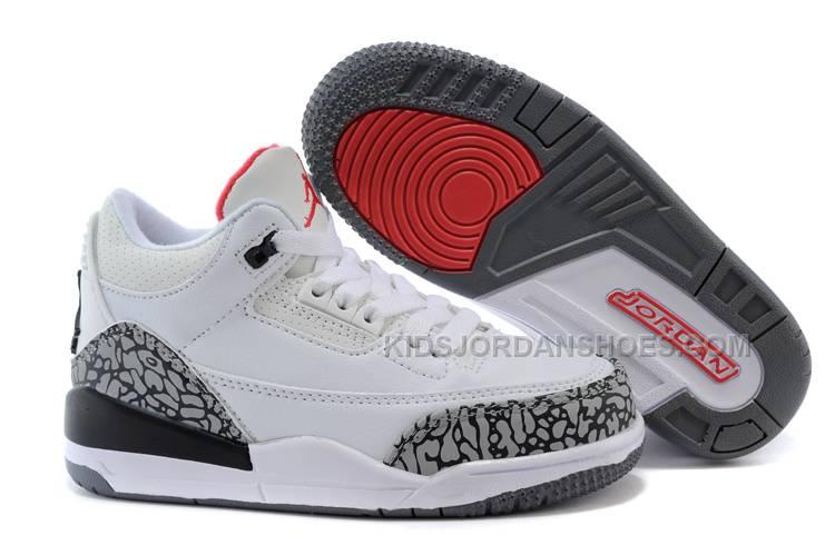 cheap for discount 2f2d9 ceffd Kids Jordan 3 White Cement-White/Fire Red-Cement Grey-Black