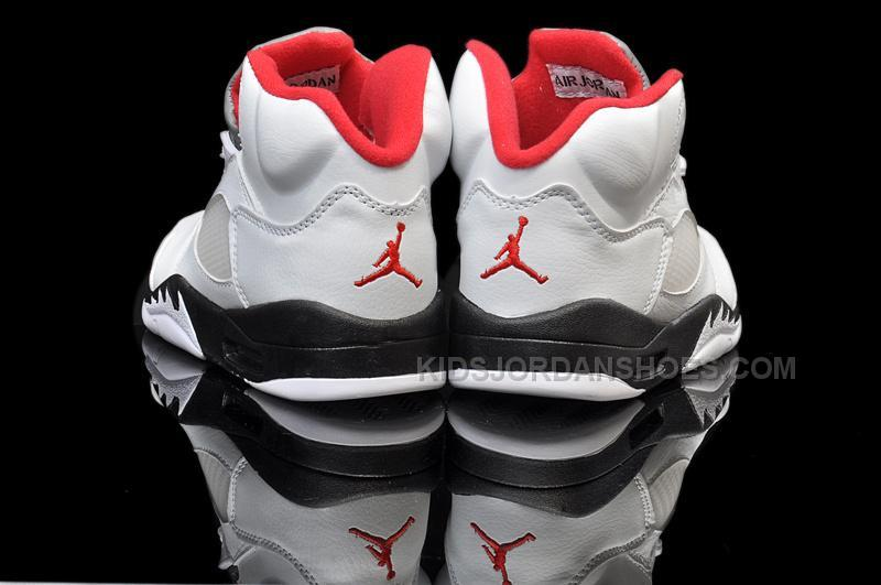 sports shoes d0f92 a94c2 Nike Air Jordan 5 Kids White Black Fire Red
