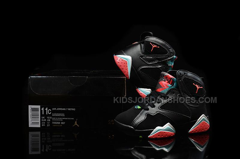 size 40 a8652 22d3c Nike Air Jordan 7 VII Retro 30th Barcelona Nights Black Blue Graphite Retro  Infrared 23 Kids Shoes 705350 007