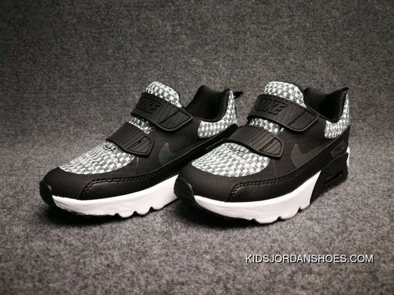 new concept 15a5b b2335 Nike AIR MAX 90 ULTRA2.0 FLYKNIT Surface Zoom Sport Kids Shoes Black 7988-