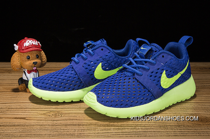 10f11bdc64729 Kids Nike Roshe One Flight Weight Blue Green Outlet
