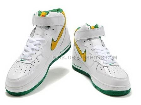 Nike Air Force 1 Mid Green White Yellow Sports Shoes