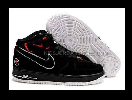 1 Shoes Air Red Force Nike Mid Mens Black cTKJFl13