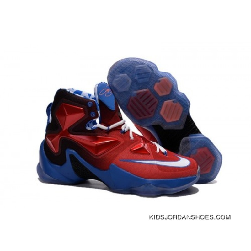 the latest 5741c 6b7a7 Nike LeBron 13 Kids Shoes Captain America Basketball Shoes Top Deals
